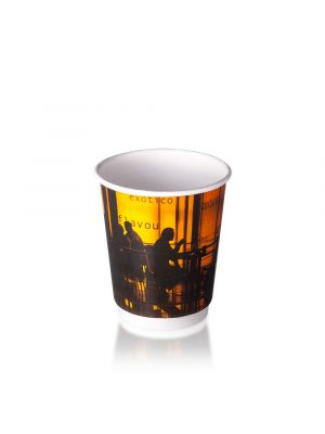 8oz Double Wall Hot Cup - Orange Silhouette