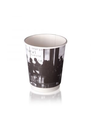 12oz Double Wall Hot Cup - B&W Silhouette