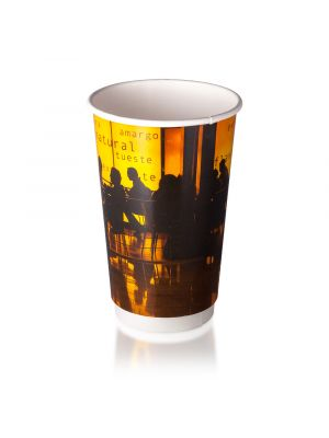 16oz Double Wall Hot Cup - Orange Silhouette