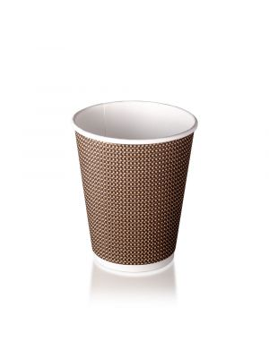12oz Double Wall Hot Cup - Brown Check