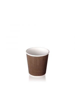 4oz Double Wall Hot Cup - Brown Check