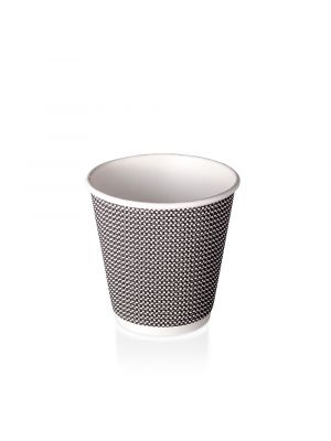 8oz Double Wall Hot Cup - B&W Check