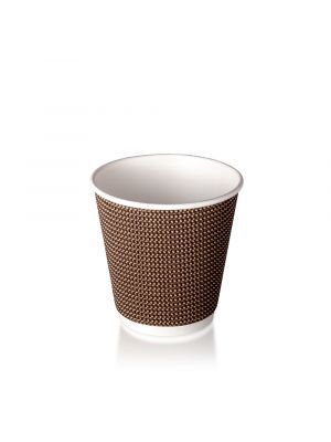 8oz Double Wall Hot Cup - Brown Check