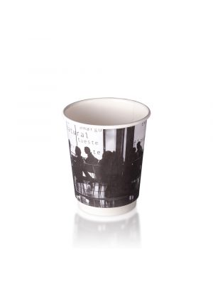 8oz Double Wall Hot Cup - B&W Silhouette