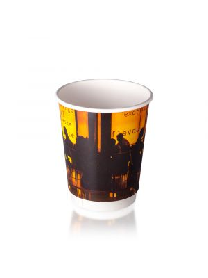 12oz Double Wall Hot Cup - Orange Silhouette