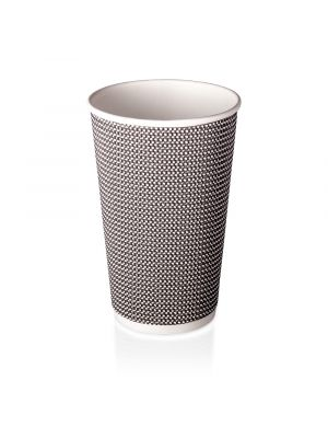 16oz Double Wall Hot Cup - B&W Check