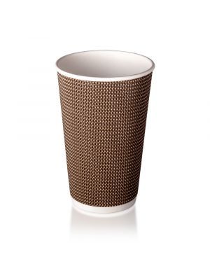 16oz Double Wall Hot Cup - Brown Check