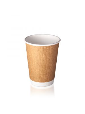 12oz Double Wall Hot Cup - Embossed Kraft
